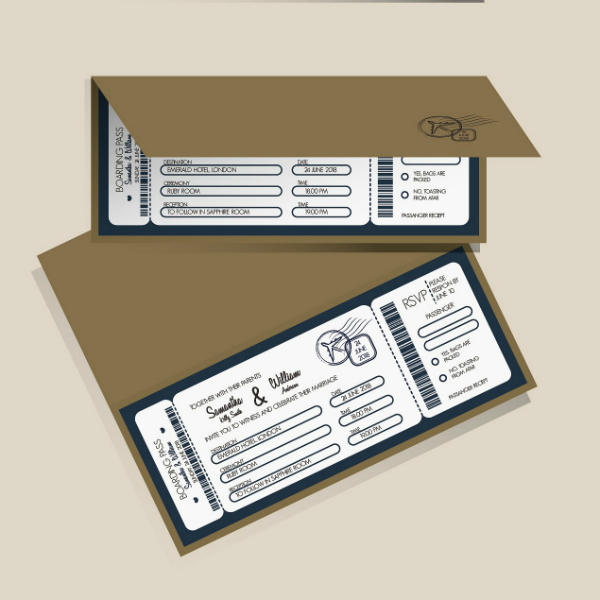 Flat Wedding Boarding Pass Invitation