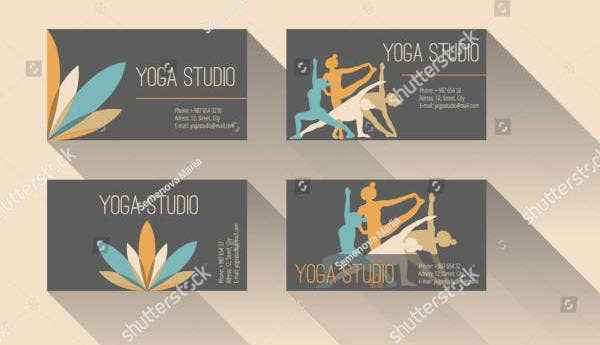 flat yoga studio business card design