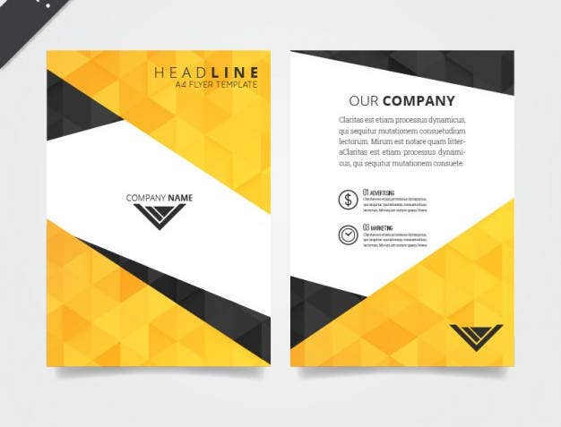 flyer-template-with-polygonal-pattern