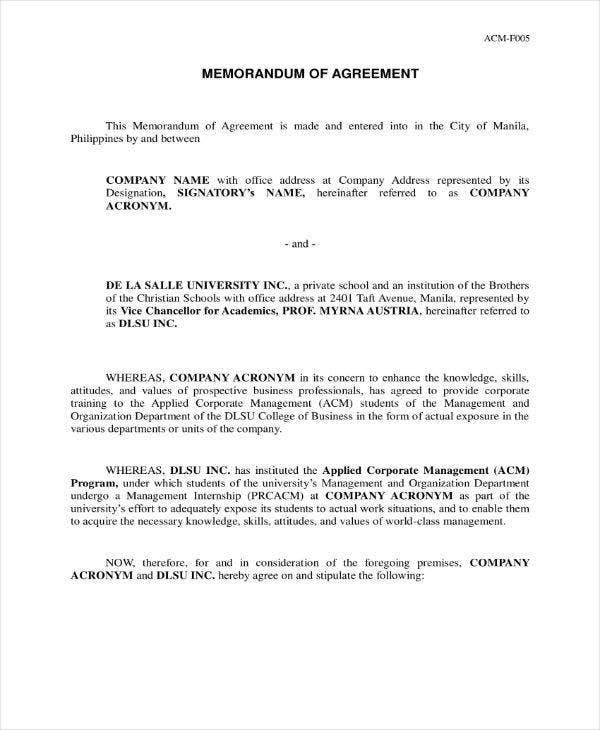 Formal Memorandum of Agreement