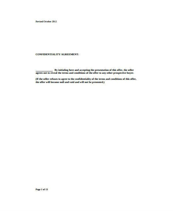 full real estate confidentiality and purchase agreement template