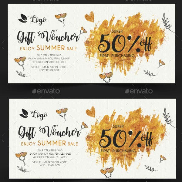 gold fashion gift coupon template