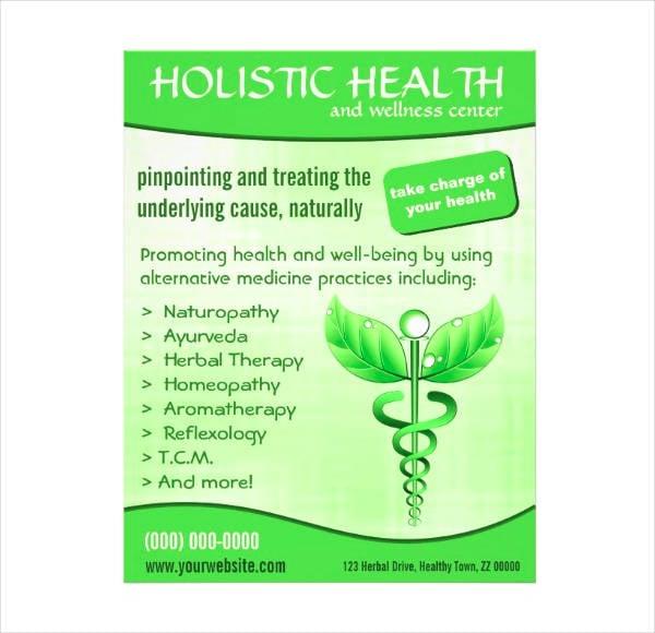 green holistic health vertical flyer