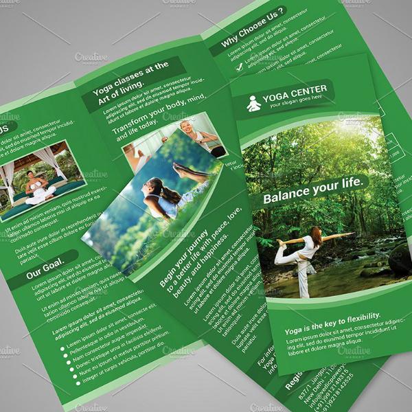 green yoga fitness brochure template