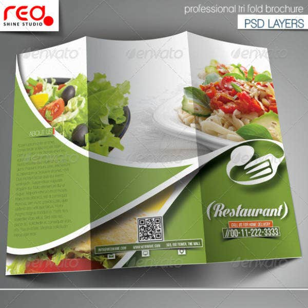 greens-restaurant-trifold-brochure-template