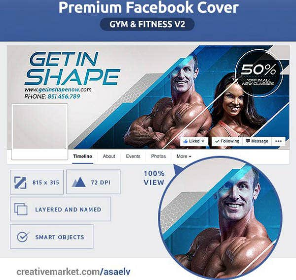 Gym & Fitness Facebook Cover Example