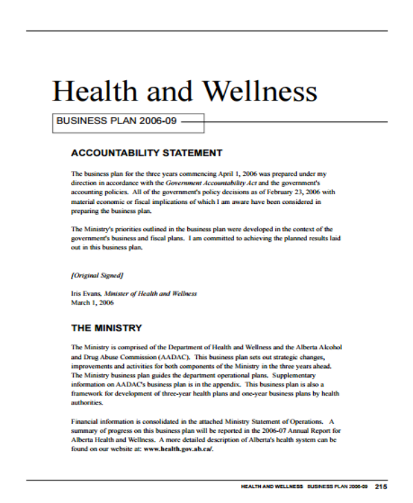health and wellness business plan 2006