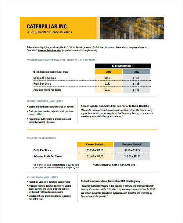 heavy equipment quarterly financial report sample