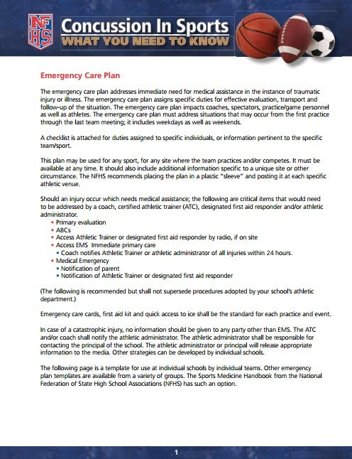 high school sports emergency care plan template