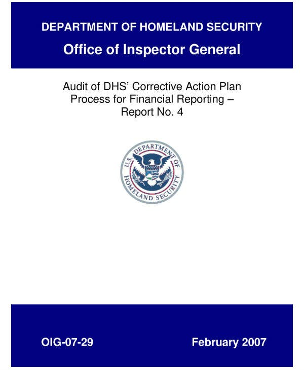 homeland security corrective action plan sample
