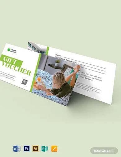 hotel voucher gift card template