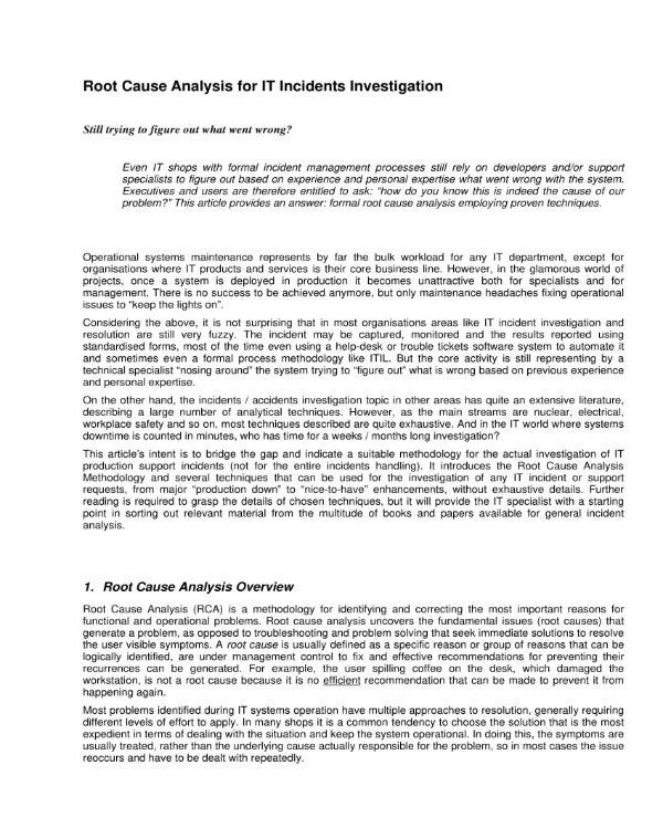 it incident root cause analysis 1