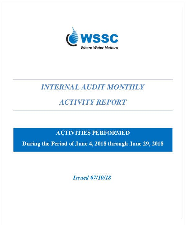 internal audit monthly activity report