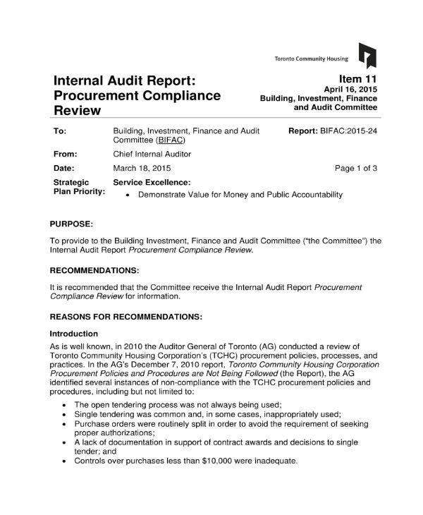 Internal Audit Report for Month