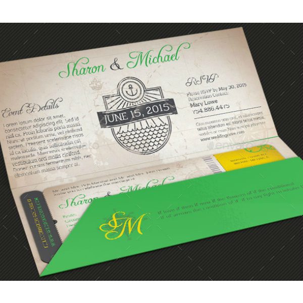 Island Wedding Boarding Pass Ticket