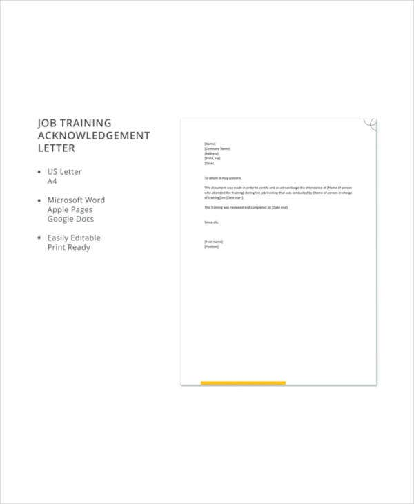 job training acknowledgement letter