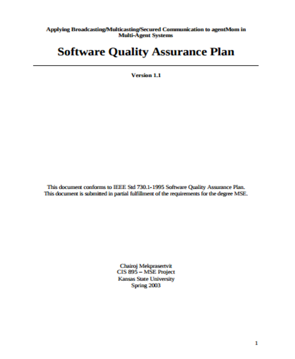 kansas state university software quality assurance plan