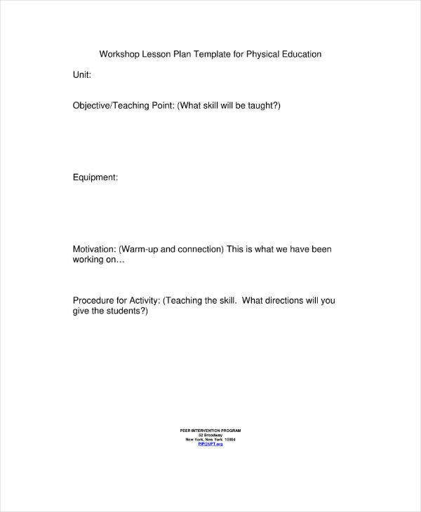 Lesson Plan Template for Physical Education