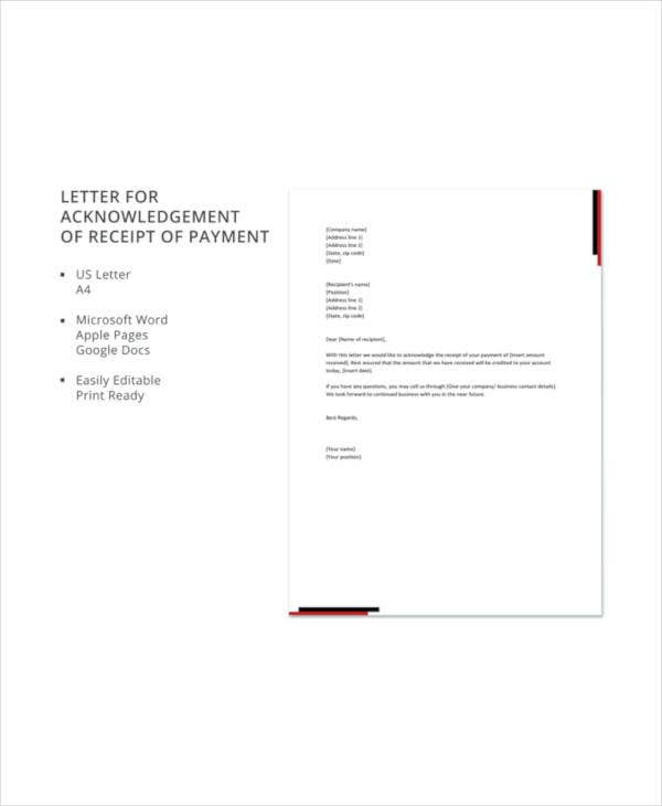 Receipt acknowledgement letter templates 10 free word pdf format letter for acknowledgement of receipt of payment details file format spiritdancerdesigns Gallery