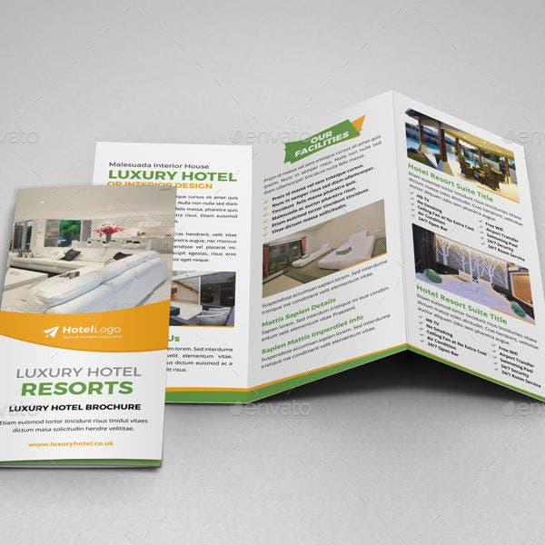 luxury hotel resort trifold brochure template