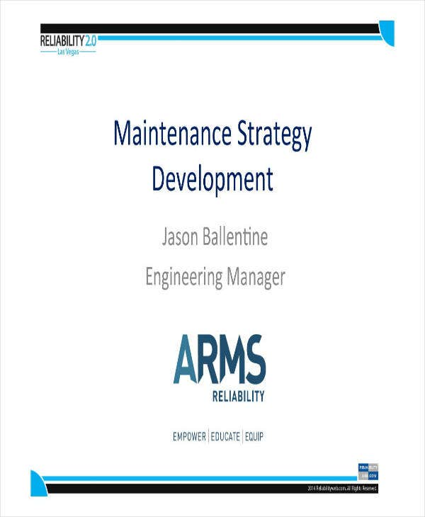 Maintenance Strategy Development Plan