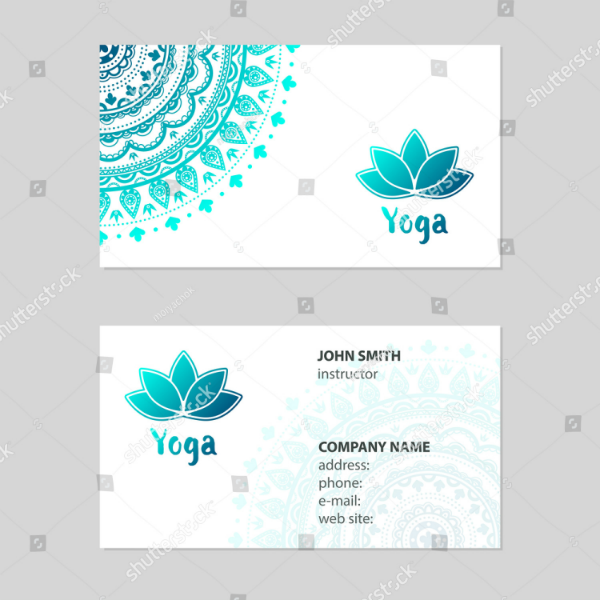 mandala yoga instructor business card template