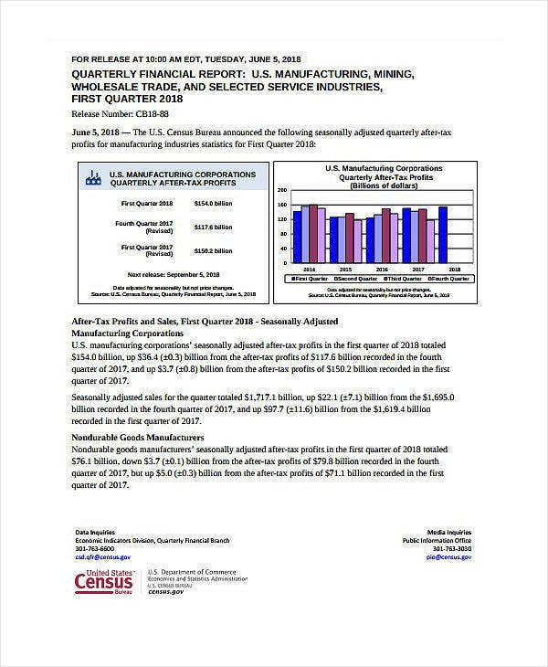 manufacturing quarterly financial report example