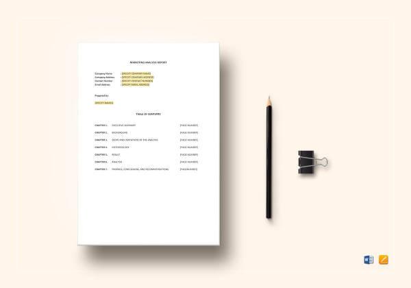 marketing analysis report example