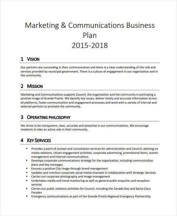marketing communications business plan