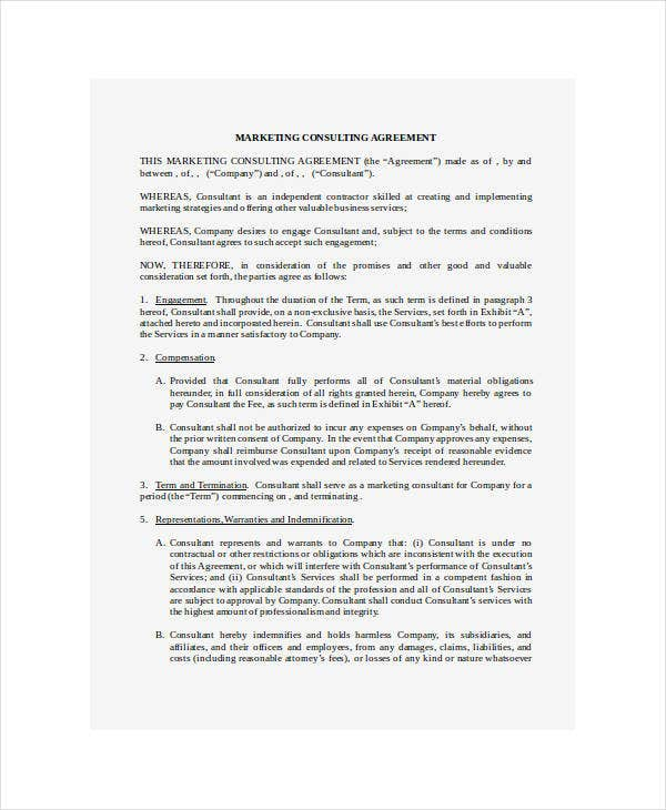9 Marketing Consulting Agreement Templates Pdf Free Premium