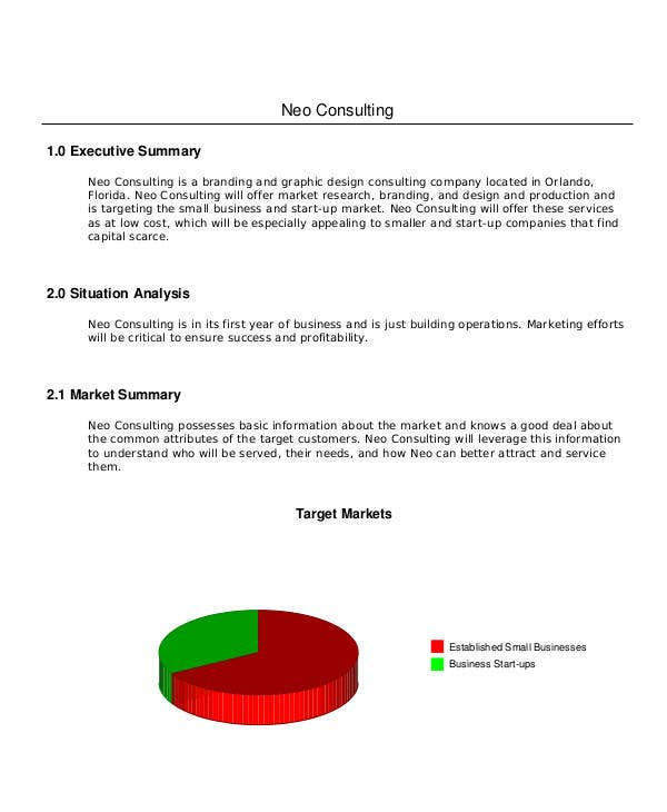 marketing plan consulting business