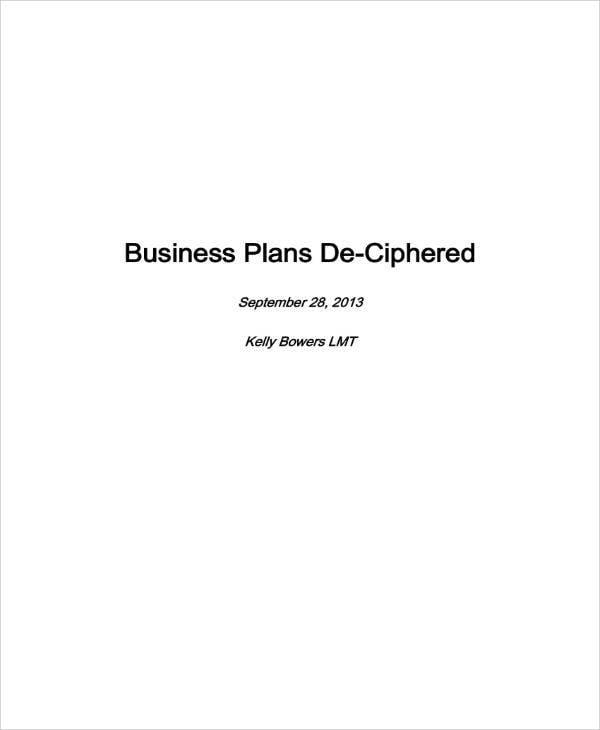 Massage Business Plan Sample