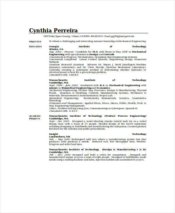 mechanical engineering design resume