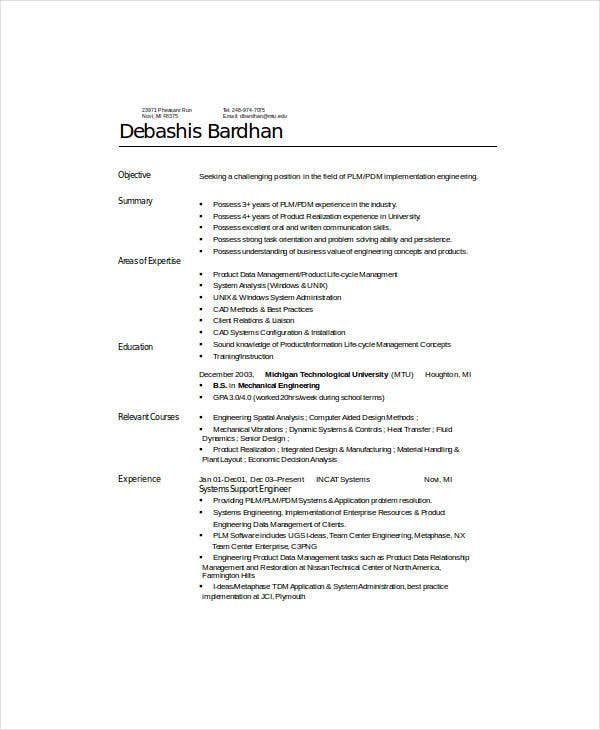 9 mechanical engineering resume templates pdf doc free