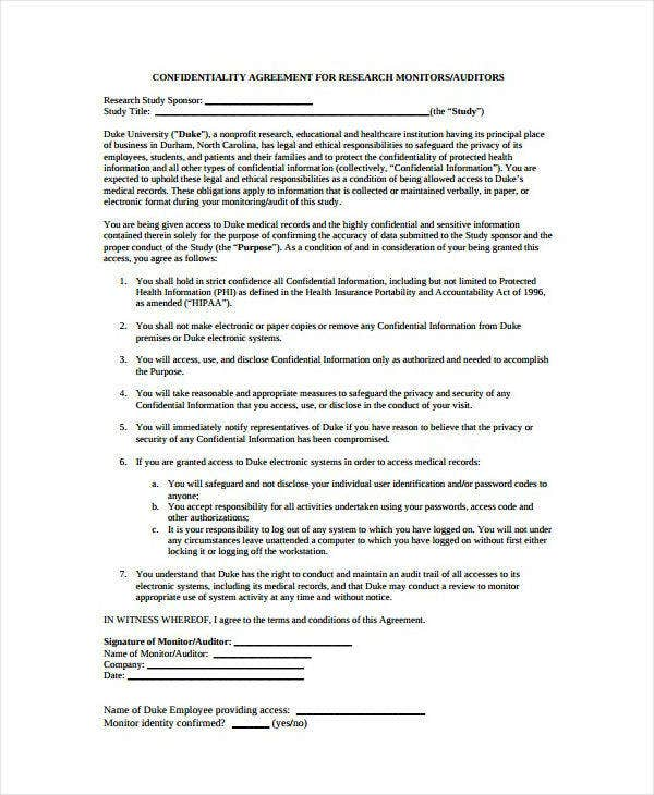 Medical Research Audit Confidentiality Agreement