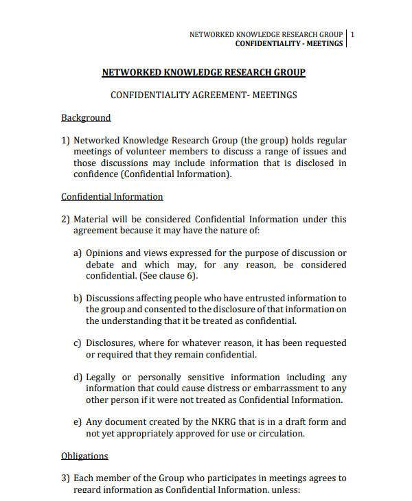 12 Meeting Confidentiality Agreement Templates Pdf Word