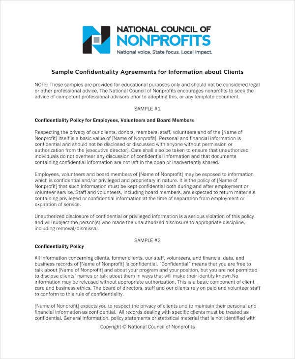 11 Meeting Confidentiality Agreement Templates Pdf Free