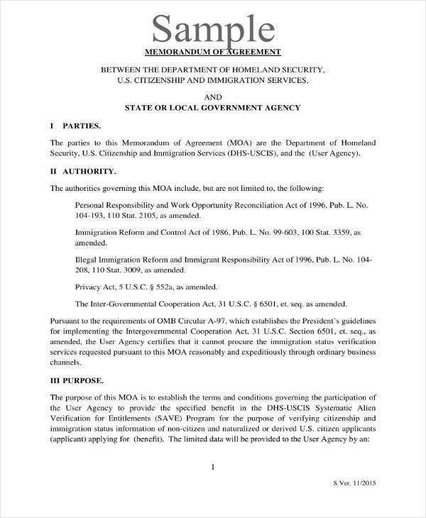 11  formal memorandum of agreement templates