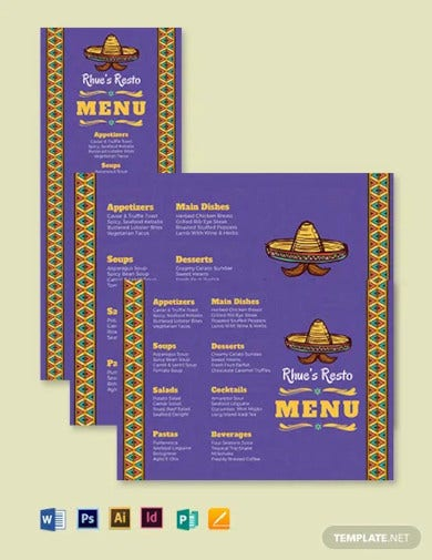 mexican dinner menu template