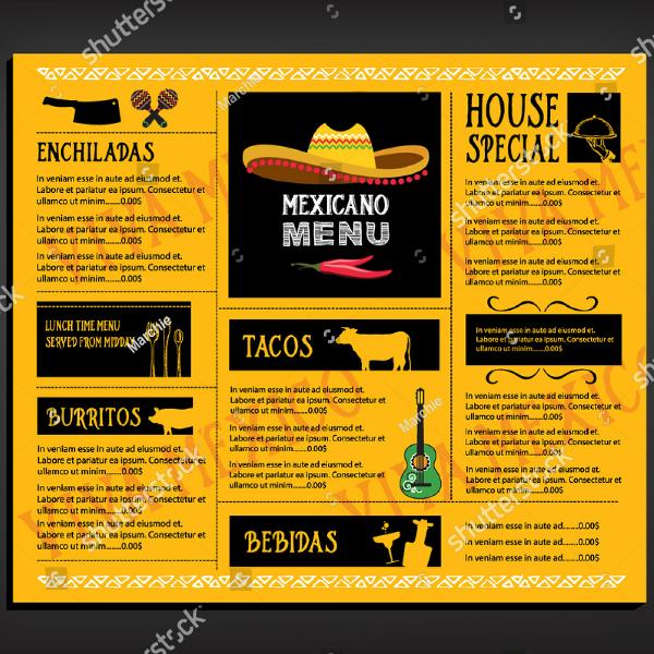 Mexicano Sombrero Food Menu Template