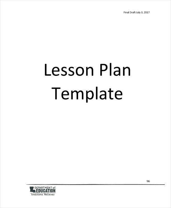 Middle School Physical Education Lesson Plan Template