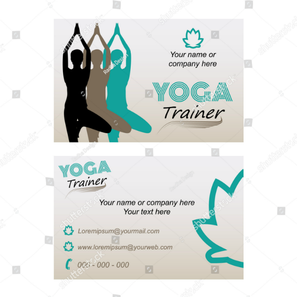 minimal yoga trainer busness card template