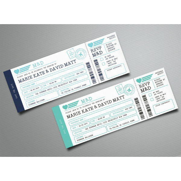 Modern Wedding Boarding Pass Invitation