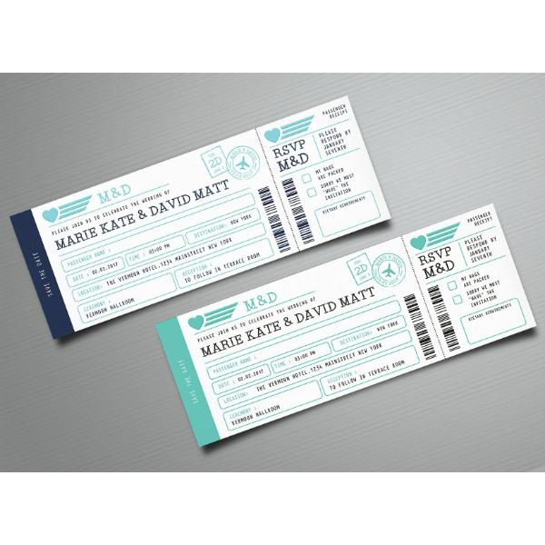 19 wedding boarding pass invitation ticket templates