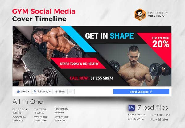 Monochrome Theme Gym Cover Template
