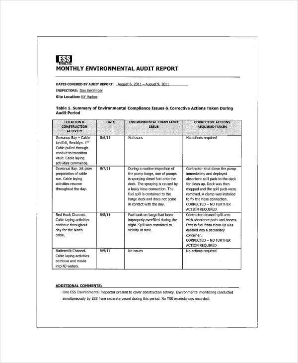 monthly environmental audit report