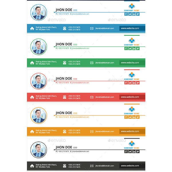 multicolor ceo email signature template