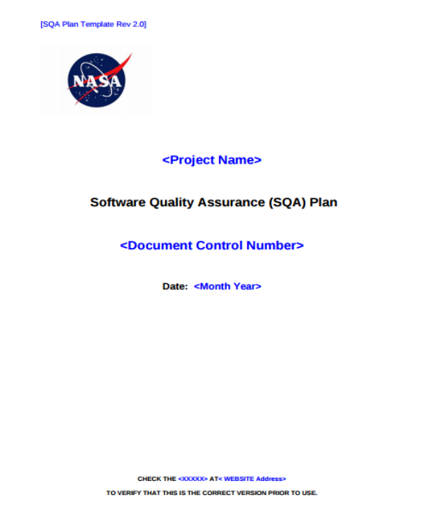 nasa software quality assurance plan