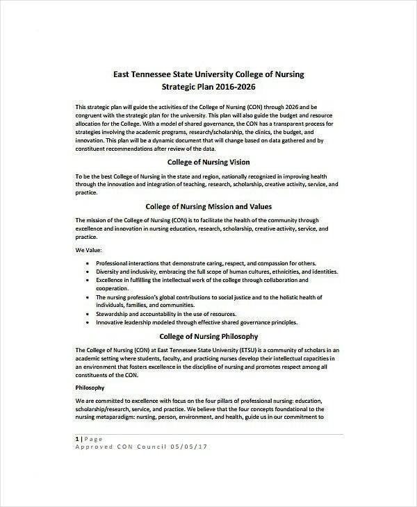 nursing college strategic plan template