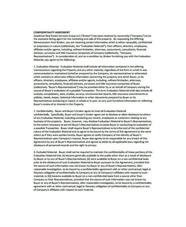 8 Real Estate Confidentiality Agreement Templates Pdf Doc Free